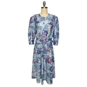 ✨Vintage California Looks Belted Floral Midi Dress